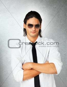 Man with sunglasses posing
