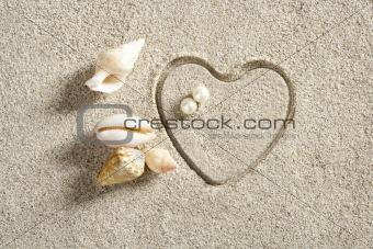 beach white sand heart shape print summer vacation