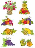 Vintage fruits set