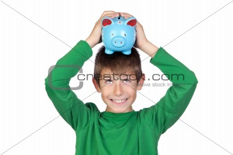 Adorable boy with a blue moneybox on his head