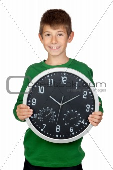 Adorable boy with a big clock