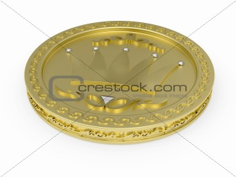 Golden coin with flowery pattern