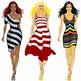 vector set beautiful girls in a striped dresses