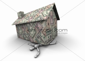Person Crushed Under House Made of Money