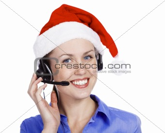 Christmas operator woman, isolated on white background