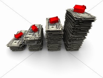 Houses Sitting on Stacks of Hundred Dollar Bills