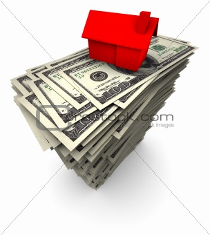 House Sitting on Stack of Hundred Dollar Bills
