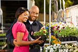 Couple buying plants.