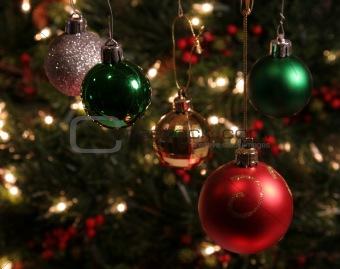 Five Christmas Baubles