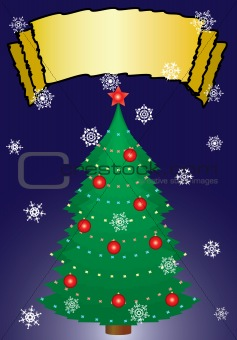 Christmas fur-tree with an ornament. A greeting card.