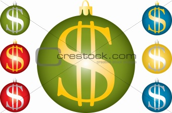 Christmas balls with a symbol of dollar.