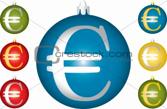 Christmas balls with a symbol of euro.