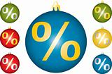 Christmas balls with a symbol of percent.