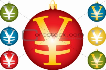Christmas balls with a symbol of yen.