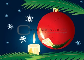 Candle and xmas ball. A christmas card.