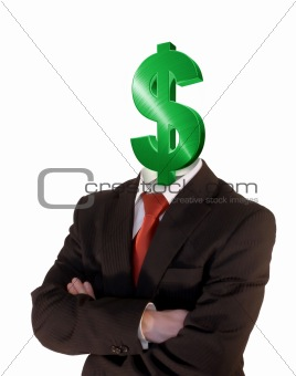 business man with dollar sign for head