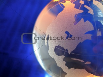 america on glass globe