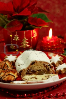 Christmas still life with cake