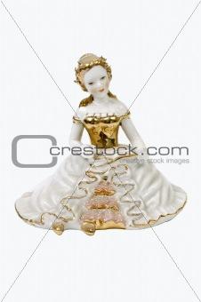 Ceramic lady isolated on white