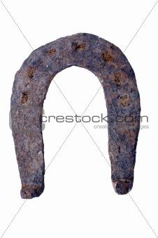 Old horseshoe isolated on white