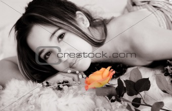 Asian girl with a rose