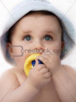 Cute wet baby
