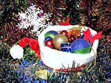 Christmas hat in garlands