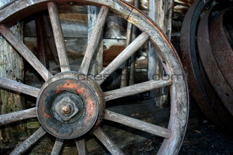Old Wooden carriage wheel