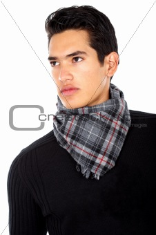 fashion man portrait wearing a scarf isolated over a white background