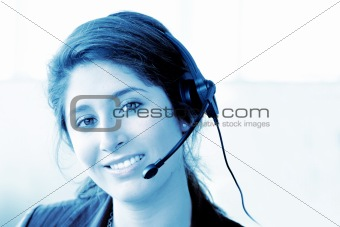 customer support center woman