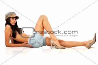 fashion woman lying on the floor