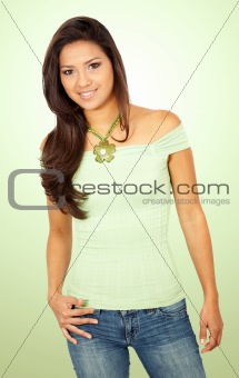 casual woman portrait in green