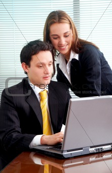 business colleagues on a laptop computer
