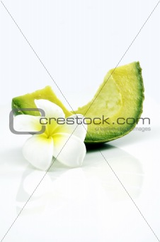 Avocado slice isolated