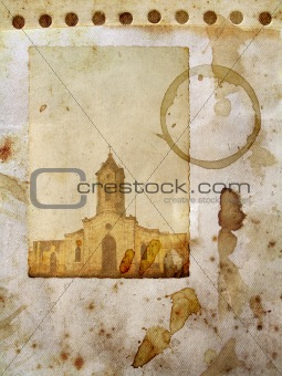 Vintage paper with church