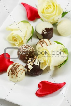 Delicious chocolate pralines with roses