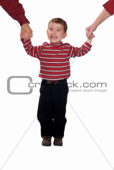 Boy Holding parents hands