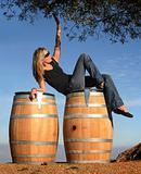 Blond girl in a wine country