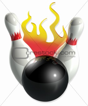 bowling pins, ball and flames