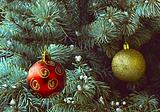 red and golden balls on xmas tree