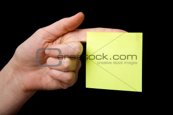 Sticky Note on Hand