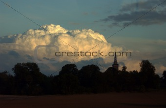 Cumulus cloud sunset