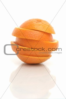 One cut orange on a white background