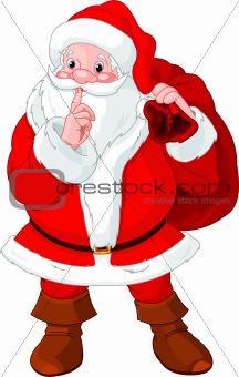 Santa Claus gesturing shush