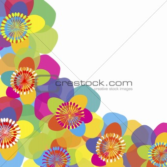 Background with colored flowers and place fpr your text