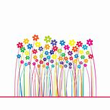 Card with colored flowers and place for your text