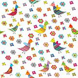 Seamless pattern with birds and flowers, cute background for kid