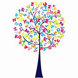 Tree with letters of alphabet