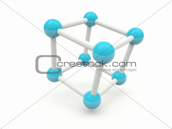 Cube molecule structure isolated on white