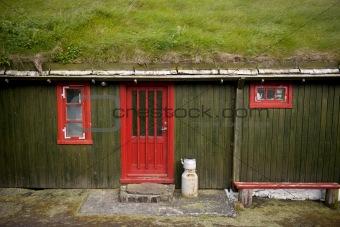 Houses in the village of the Island Mykines, Faroe Islands